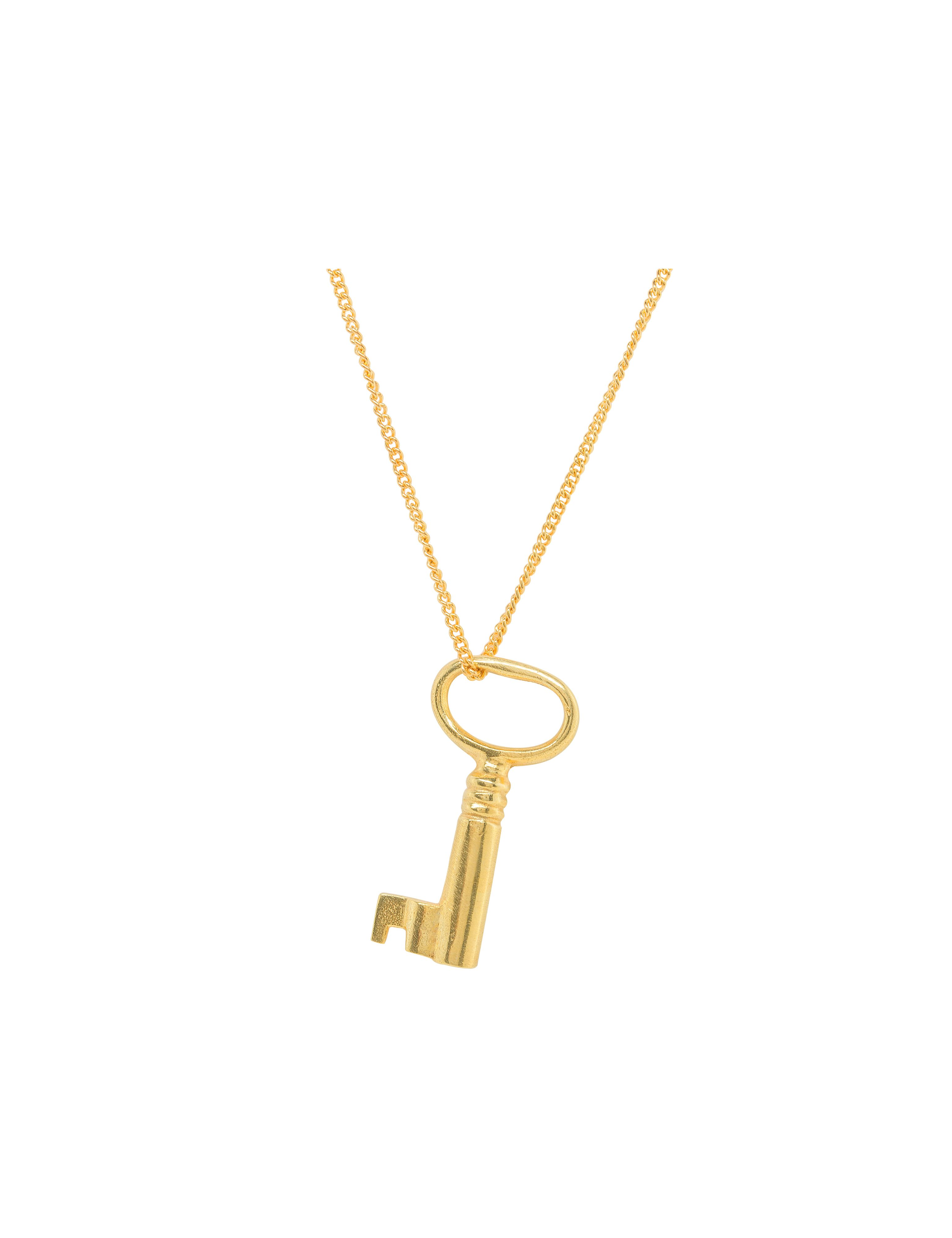Katie Mullally Katie Mullally Gold plated large key and chain, Metallic
