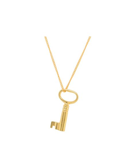 Katie Mullally Gold plated large key and chain
