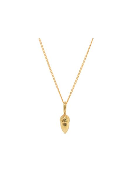 Katie Mullally Gold plated acorn charm and chain