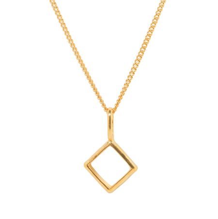 Katie Mullally Gold plated hollow diamond and chain