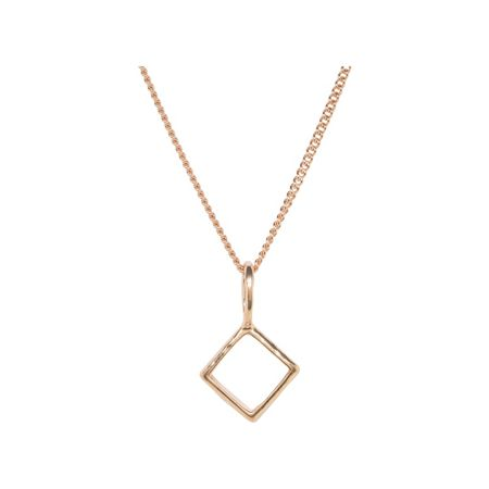 Katie Mullally Rose gold hollow diamond and chain