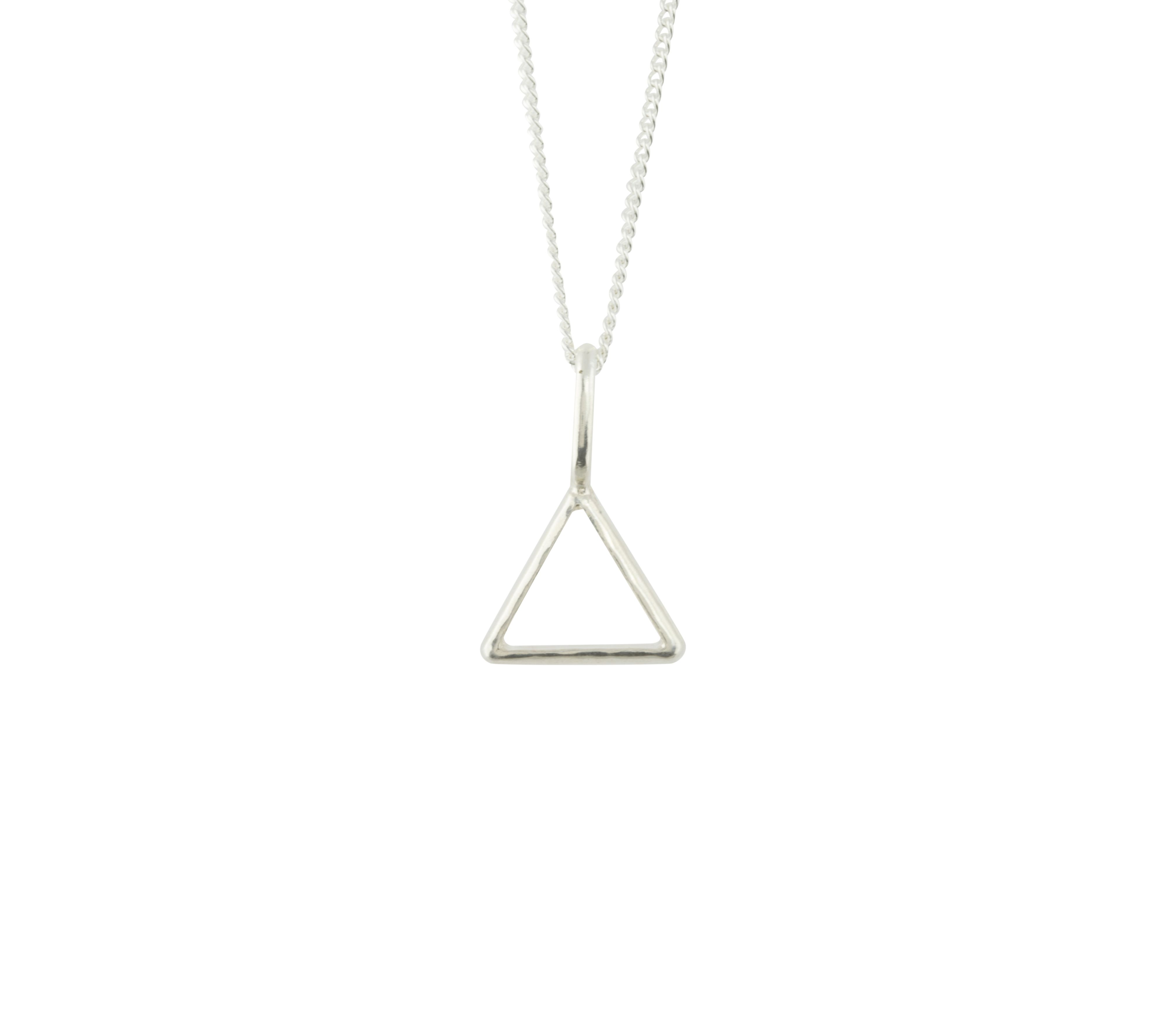 Katie Mullally Katie Mullally Silver hollow triangle charm and chain, Metallic
