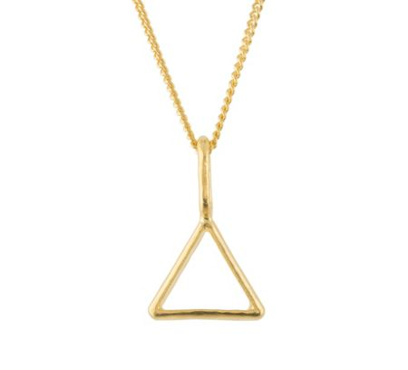 Katie Mullally Gold plated hollow triangle and chain