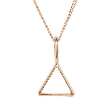 Katie Mullally Rose gold hollow triangle and chain