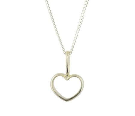Katie Mullally Silver hollow heart charm and chain