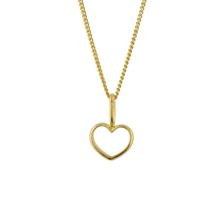 Katie Mullally Gold plated hollow heart charm and chain