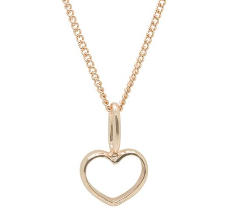 Katie Mullally Rose gold hollow heart charm and chain