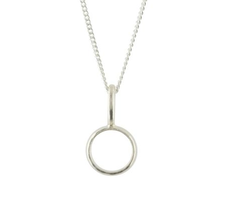 Katie Mullally Silver hollow circle charm and chain