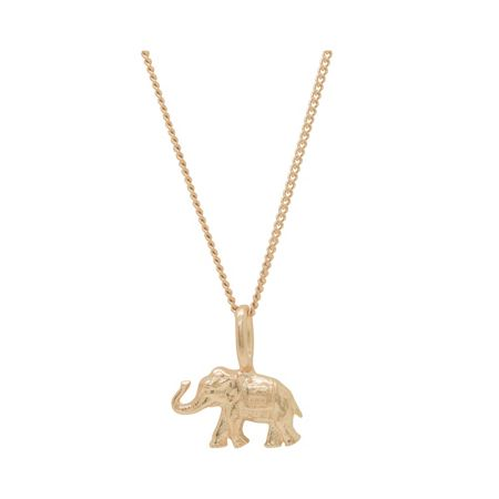 Katie Mullally Rose gold elephant charm and chain