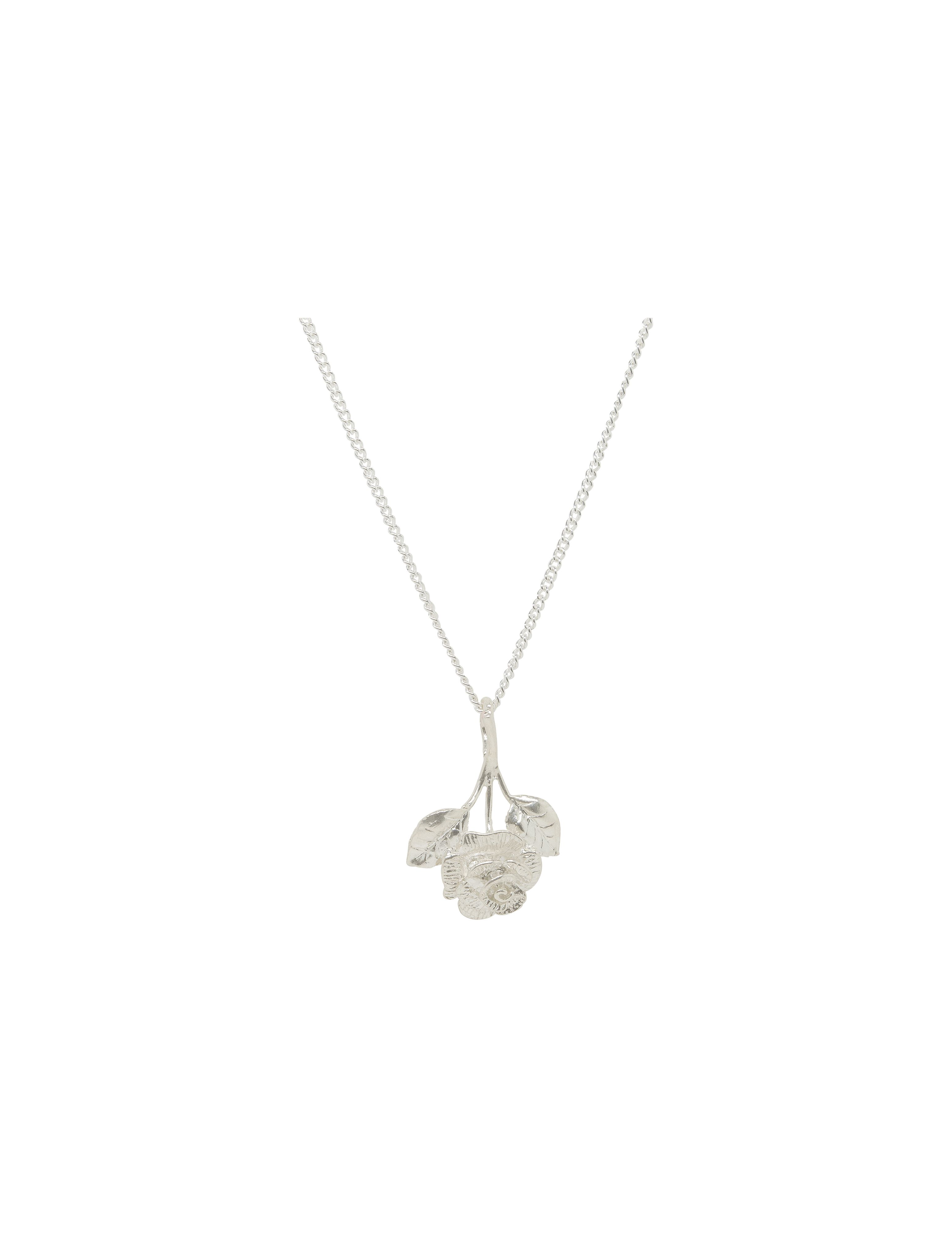 Katie Mullally Katie Mullally Silver rose charm and chain, Metallic