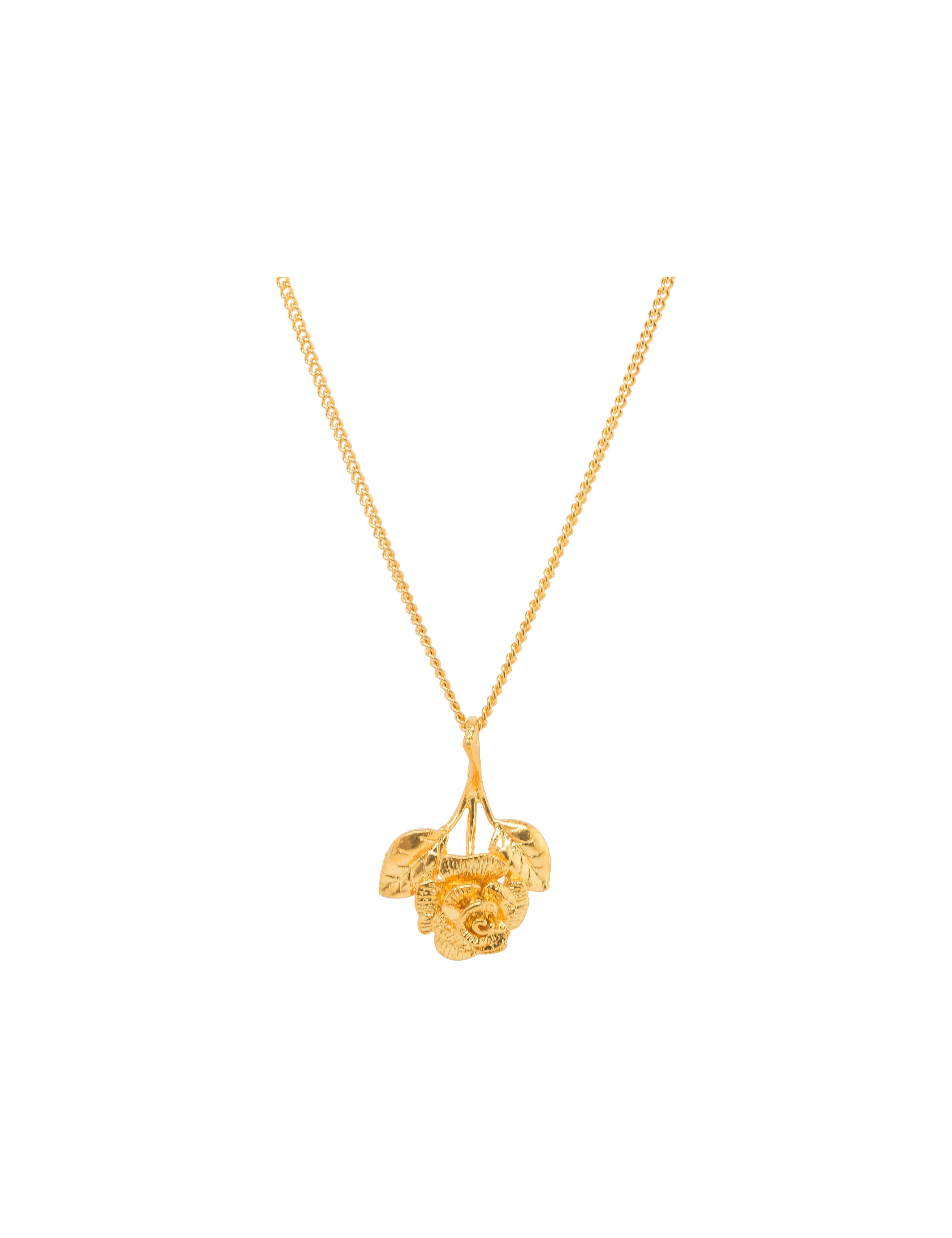 Katie Mullally Katie Mullally Gold plated rose charm and chain, Metallic
