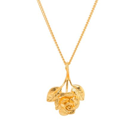 Katie Mullally Gold plated rose charm and chain