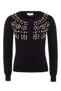 Wolf & Whistle Black Beaded Cardigan