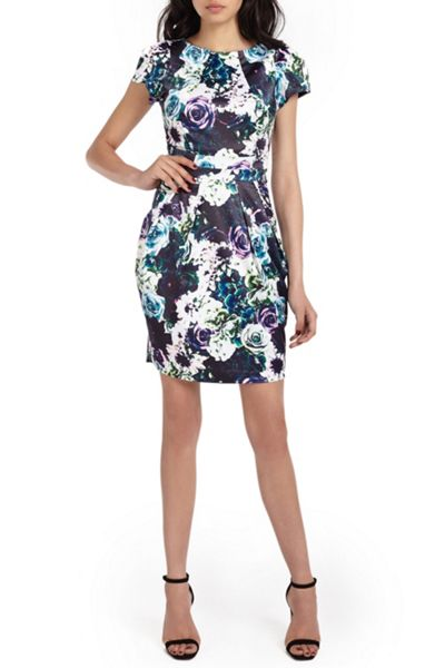 Wolf & Whistle Rose Print Satin Tailored Dress