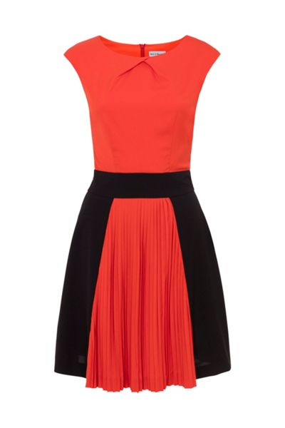 Whistle & Wolf Orange & Black Colour Block Pleat Dress