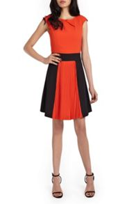Wolf & Whistle Orange & Black Colour Block Pleat Dress
