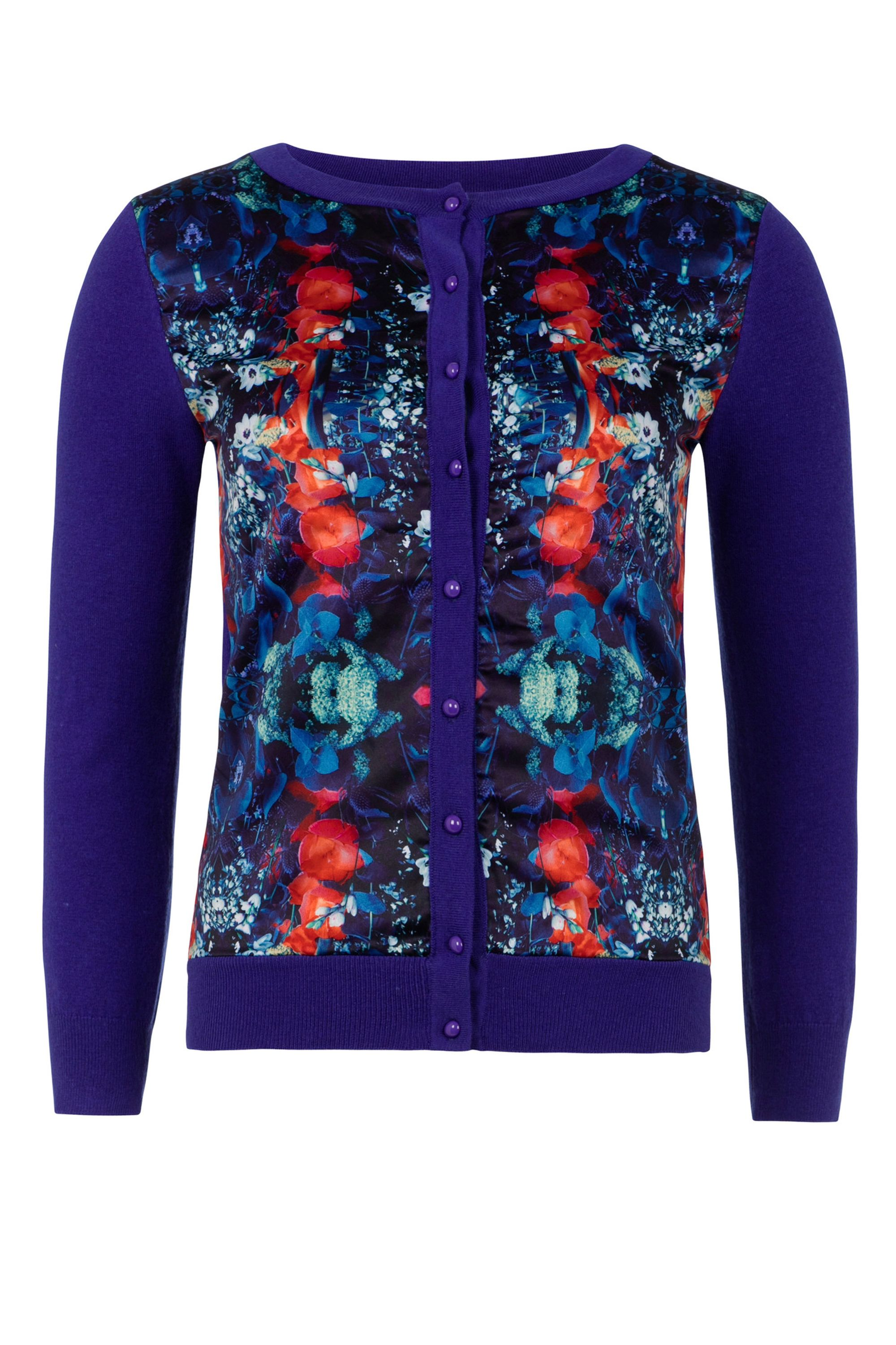 Wolf & Whistle Wolf & Whistle Mirror Floral Print Cardigan, Blue