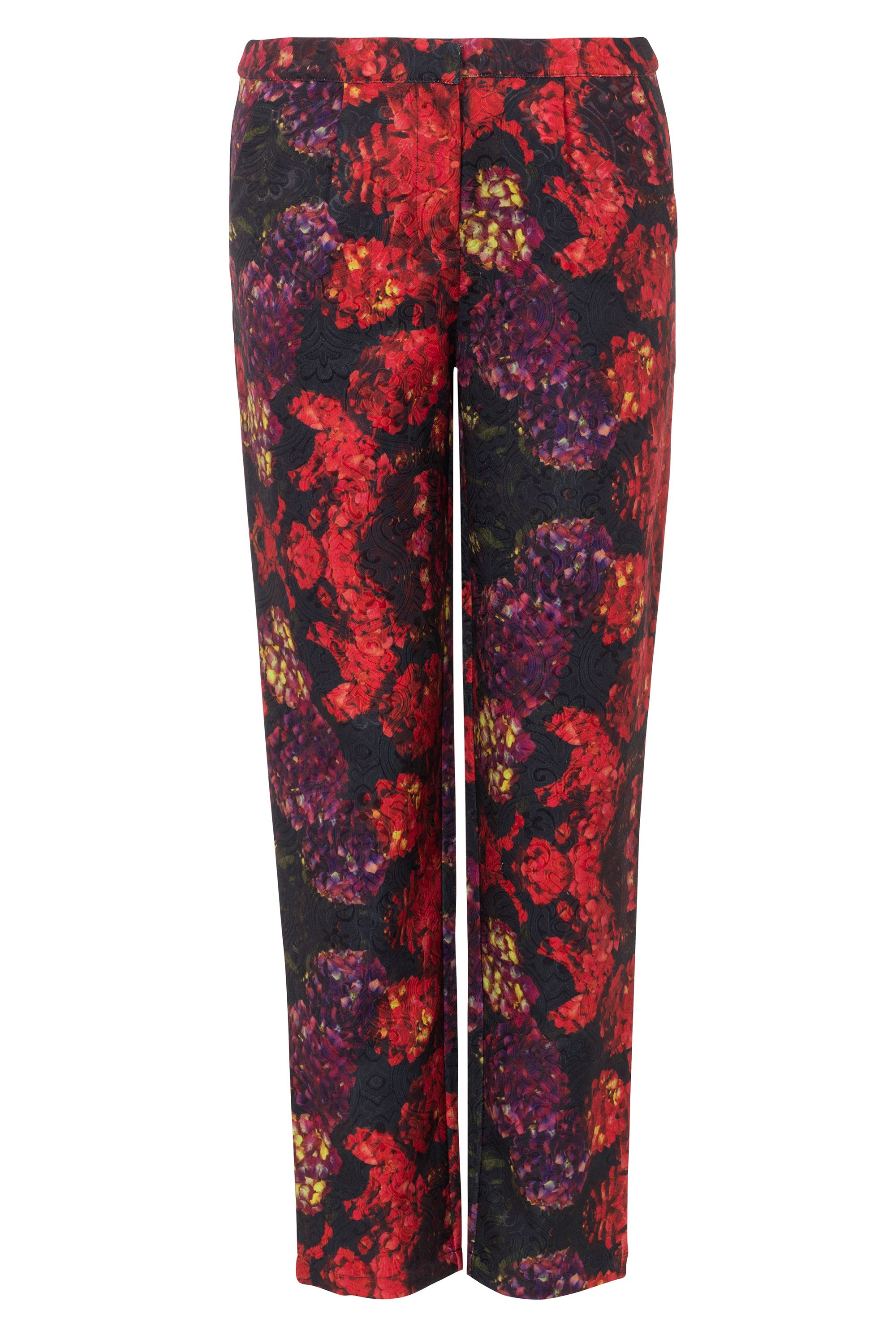Wolf & Whistle Wolf & Whistle Hydrangea Print Trousers, Multi-Coloured