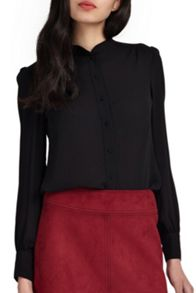 Wolf & Whistle Black Round Neck Blouse