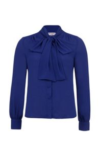 Wolf & Whistle Blue Pussy Bow Blouse