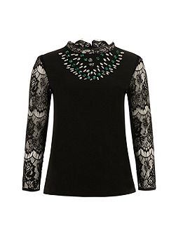 Black Embellished Lace Sleeve Top