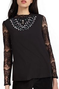Wolf & Whistle Black Embellished Lace Sleeve Top