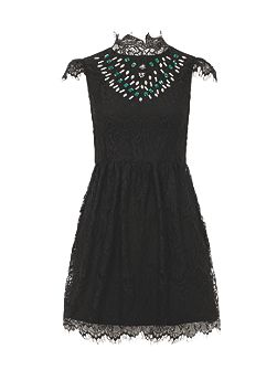 Embellished Eyelash Lace Dress