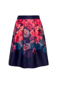 Wolf & Whistle Rose Print Midi Length Satin Skirt