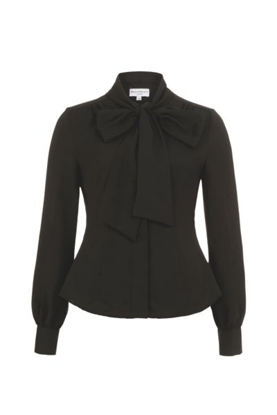 Wolf & Whistle Black Pussy Bow Blouse