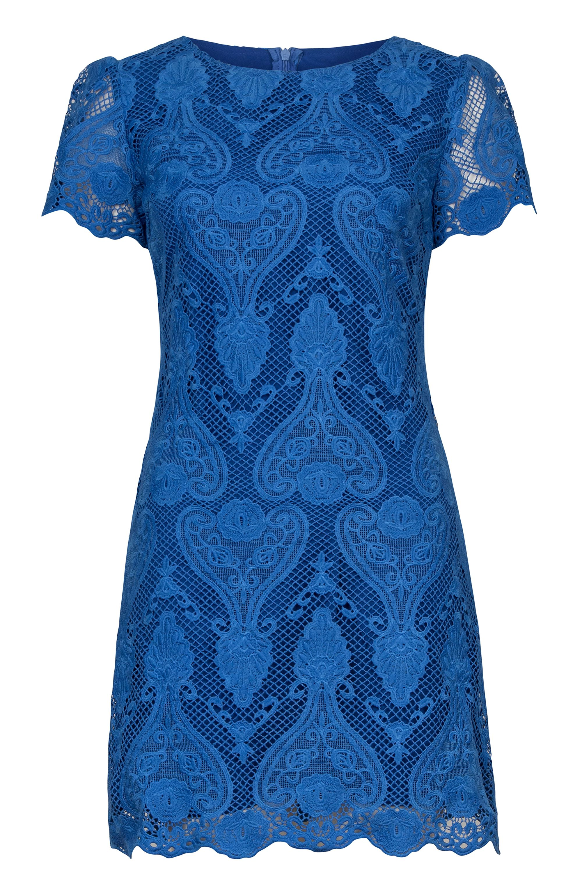 Wolf & Whistle Wolf & Whistle Crochet Lace Shift Dress, Blue