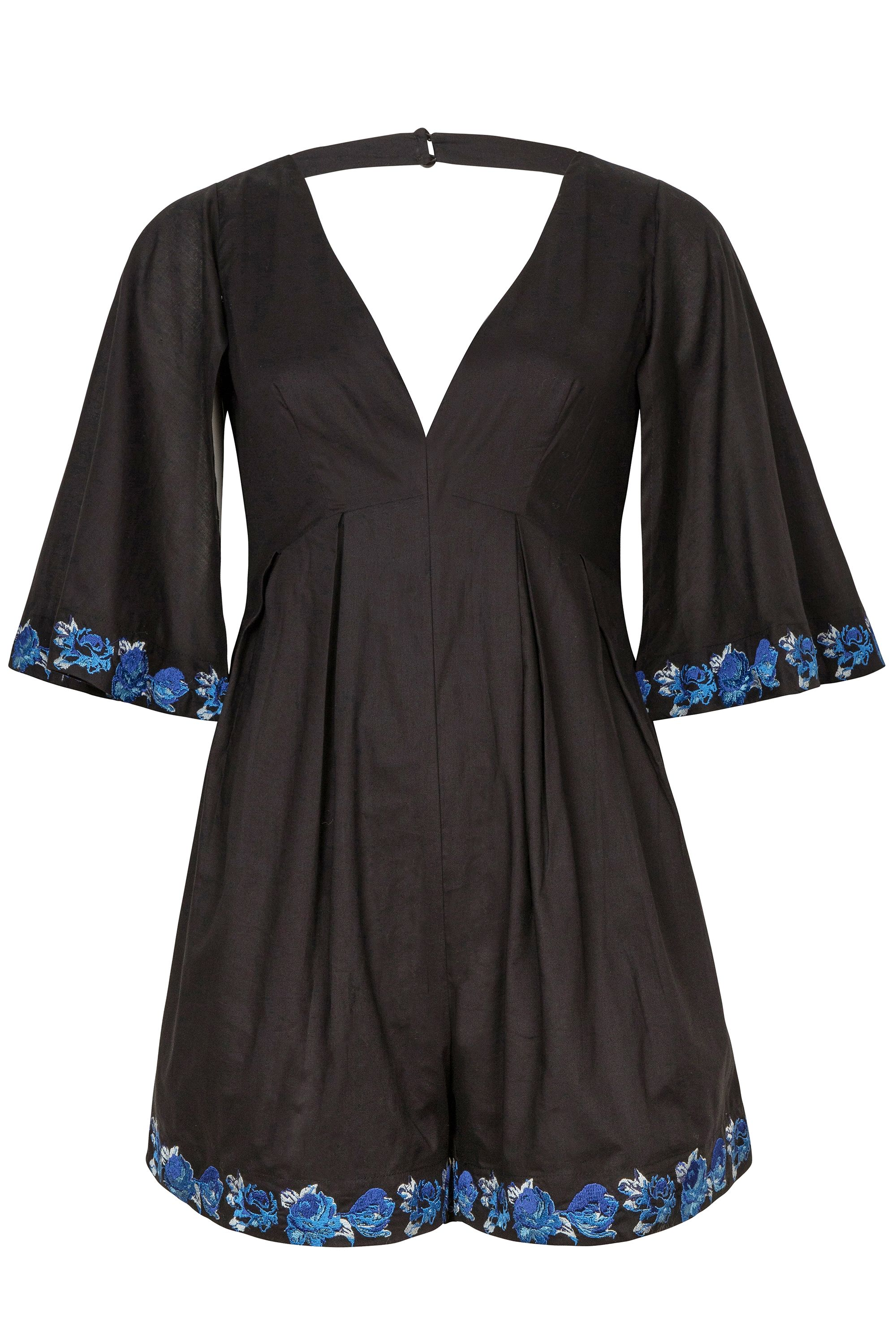 Wolf & Whistle Wolf & Whistle Blue & Black Embroidered Playsuit, Black