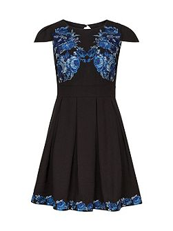 Blue & Black Embroidered Dress