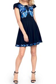 Wolf & Whistle Blue & Black Embroidered Dress