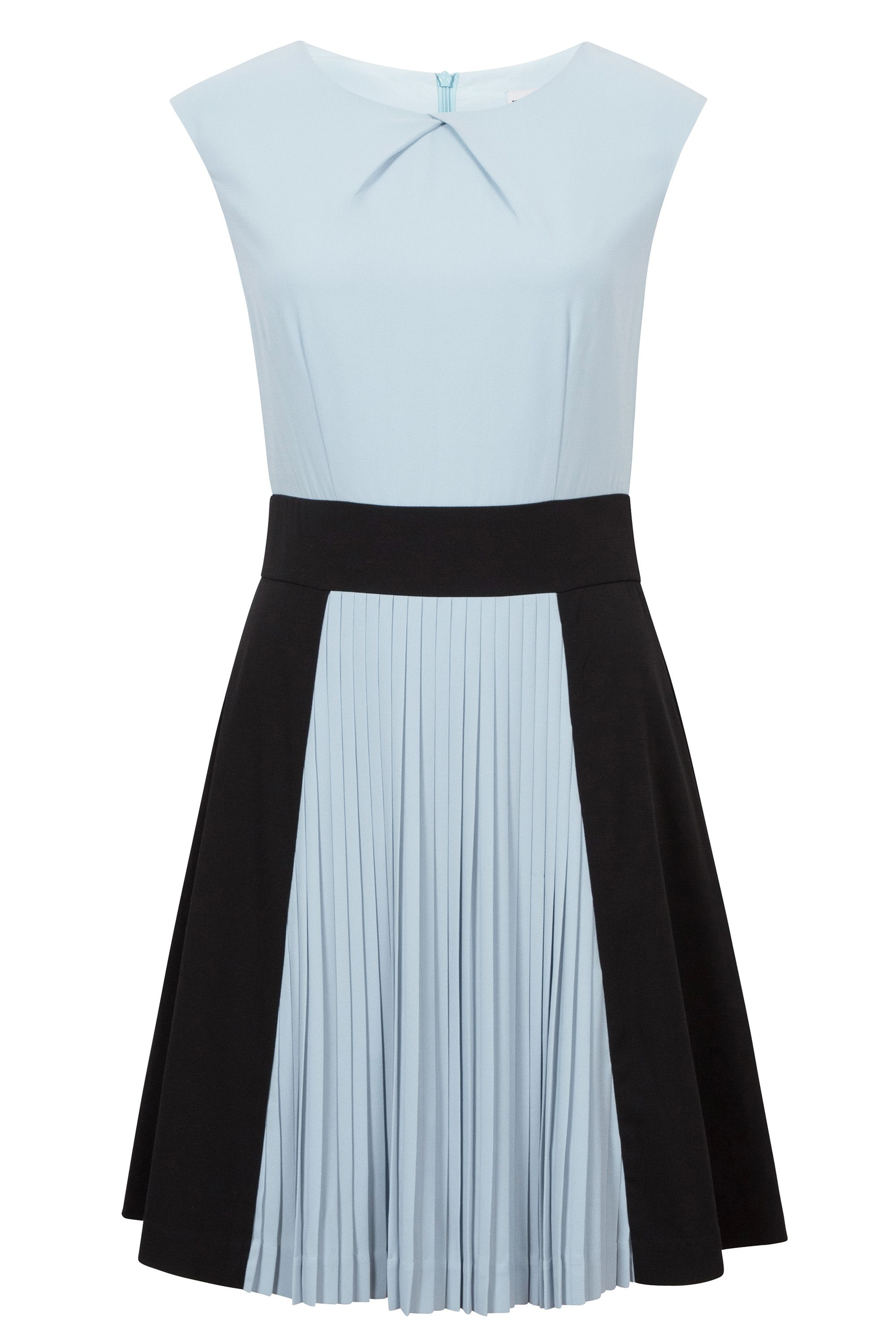 Wolf & Whistle Wolf & Whistle Pleated Colour Block Dress, Multi-Coloured