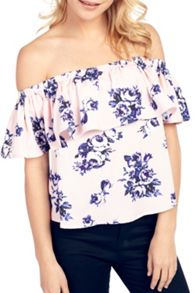Wolf & Whistle Wallpaper Floral Bardot Frill Top