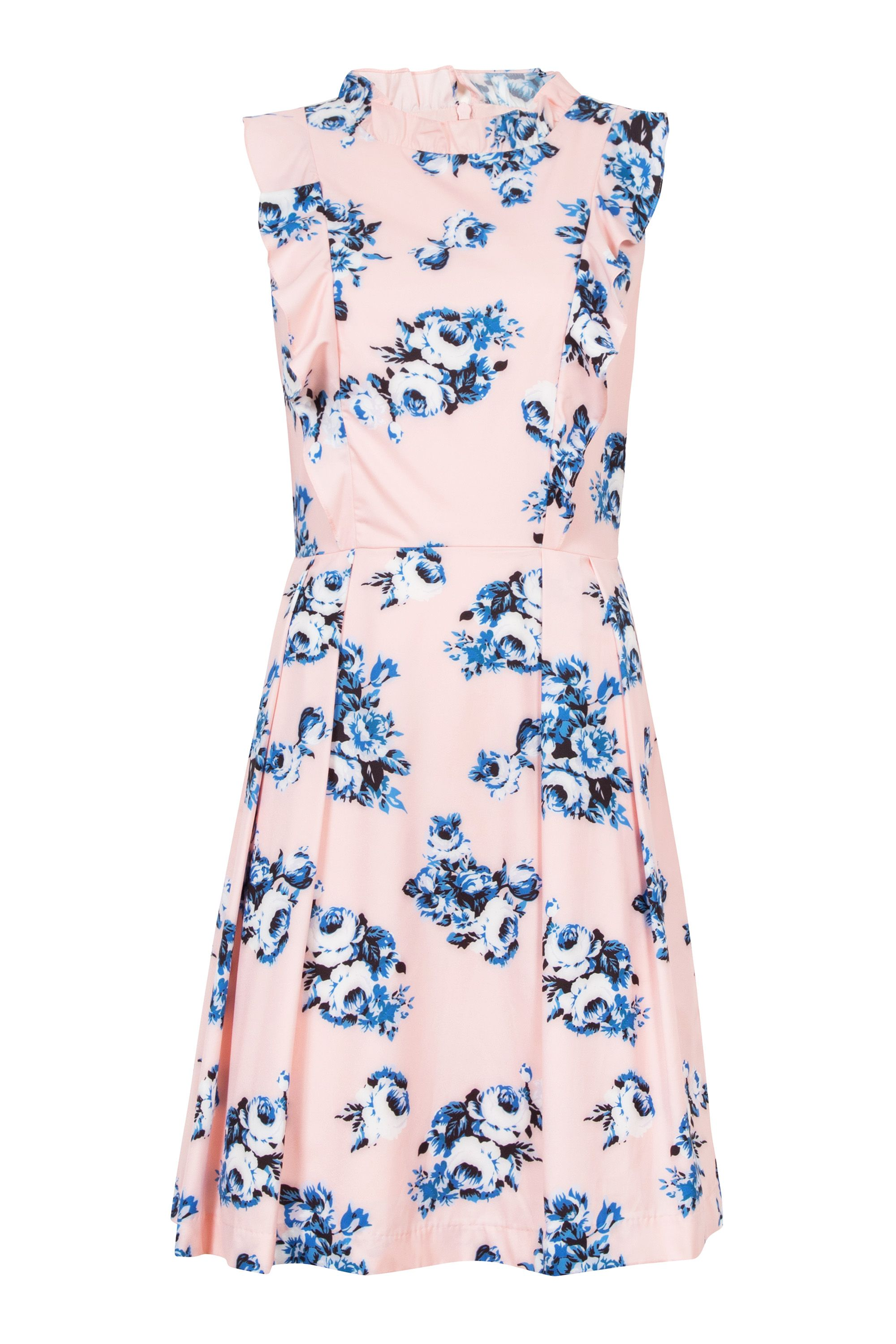 Wolf & Whistle Wolf & Whistle Floral Frill Dress, Multi-Coloured