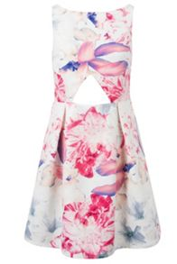 Whistle & Wolf Floral Cut Out Box Pleat Dress