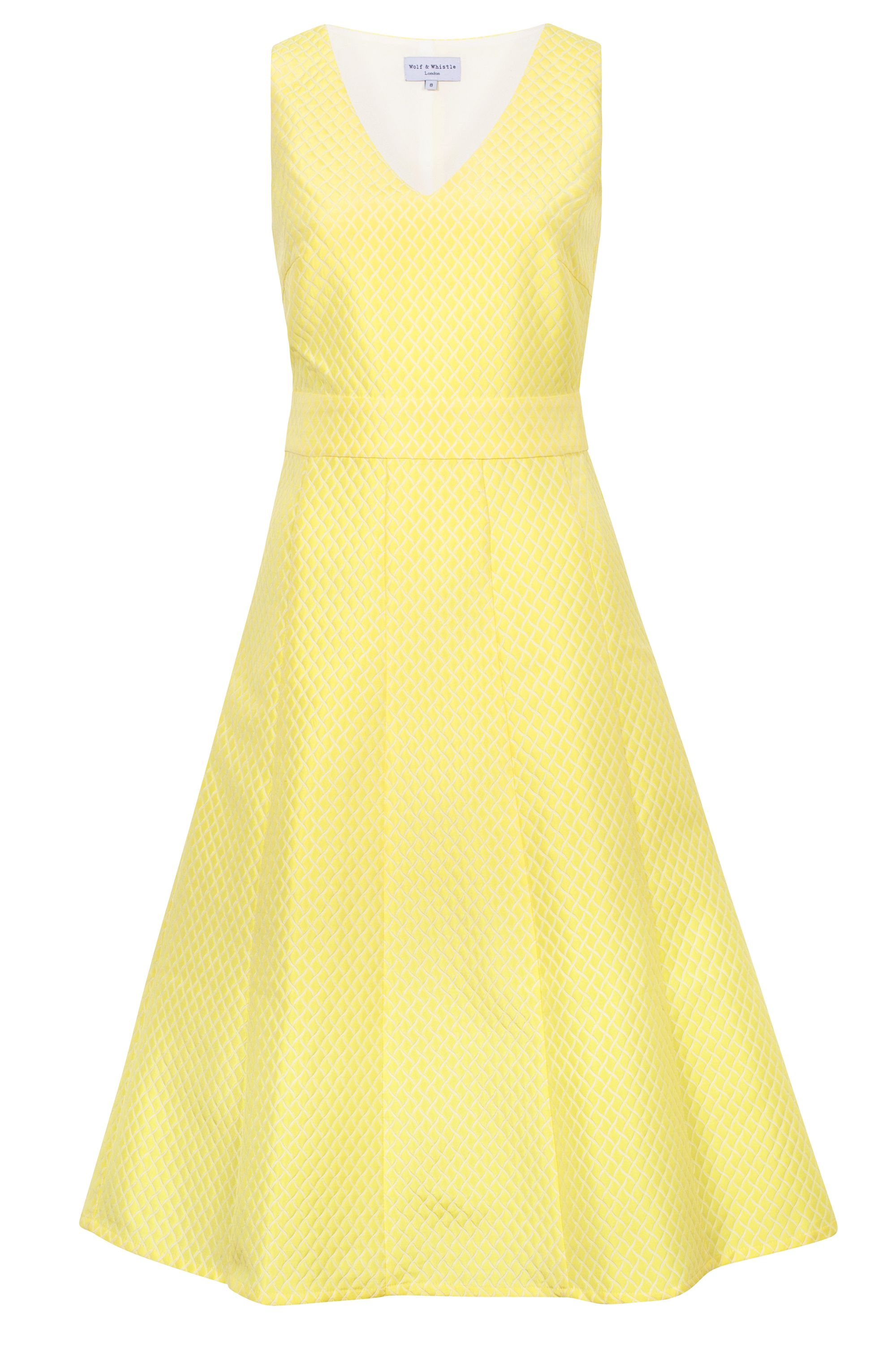 Wolf & Whistle Wolf & Whistle Brocade Cut Out Dress, Yellow