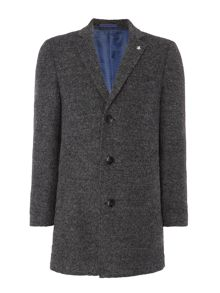 Original Penguin Charcoal grey boucle overcoat