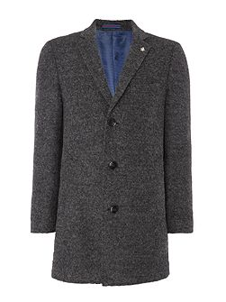 Charcoal grey boucle overcoat