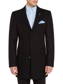 Original Penguin Compact melton black overcoat
