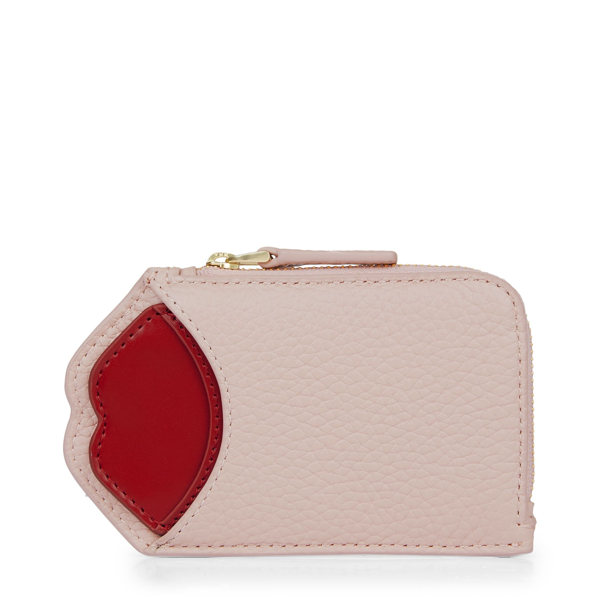 Lulu Guinness Pop up lip liliana zip oyster purse, Light Pink