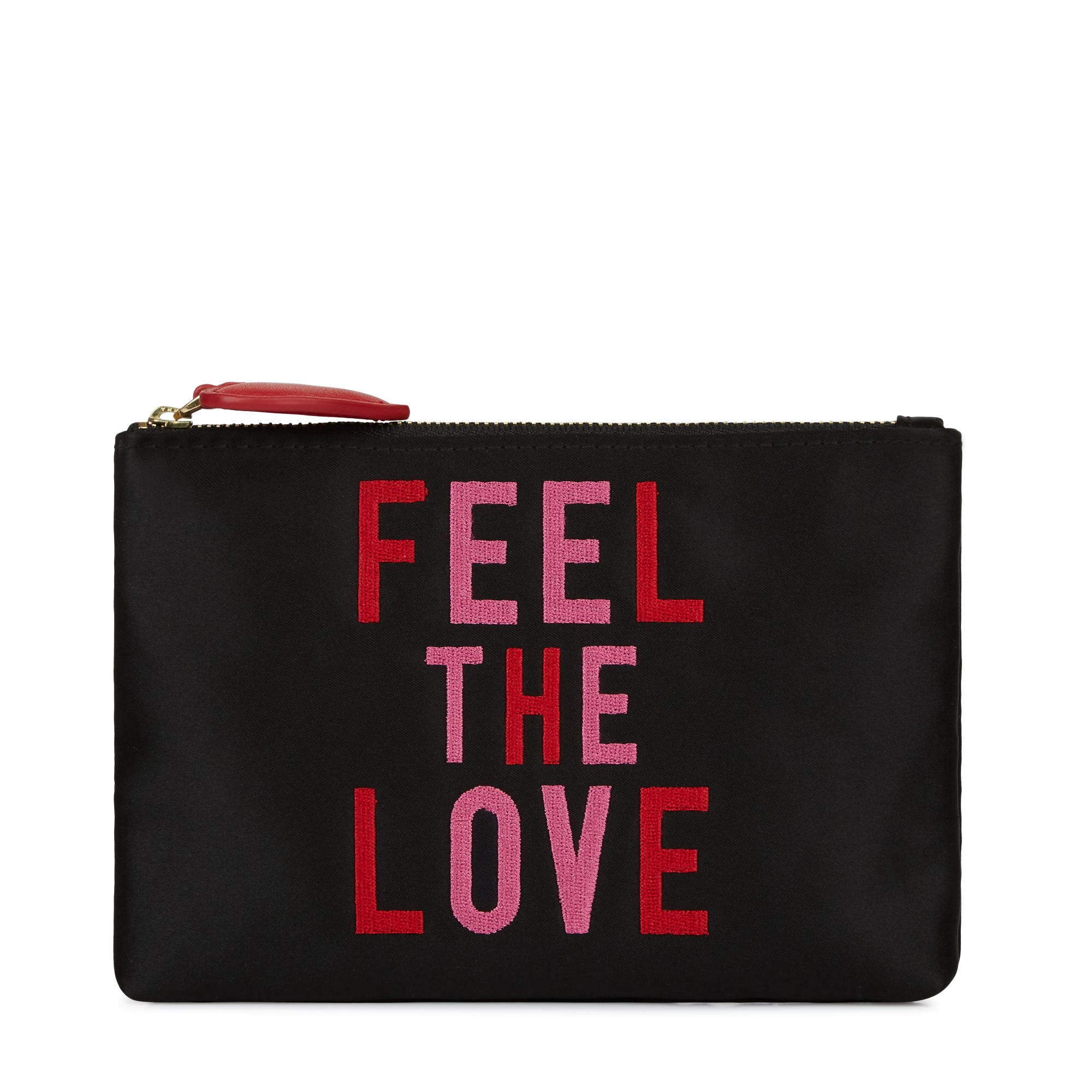 Lulu Guinness Feel the love top zip pouch, Black