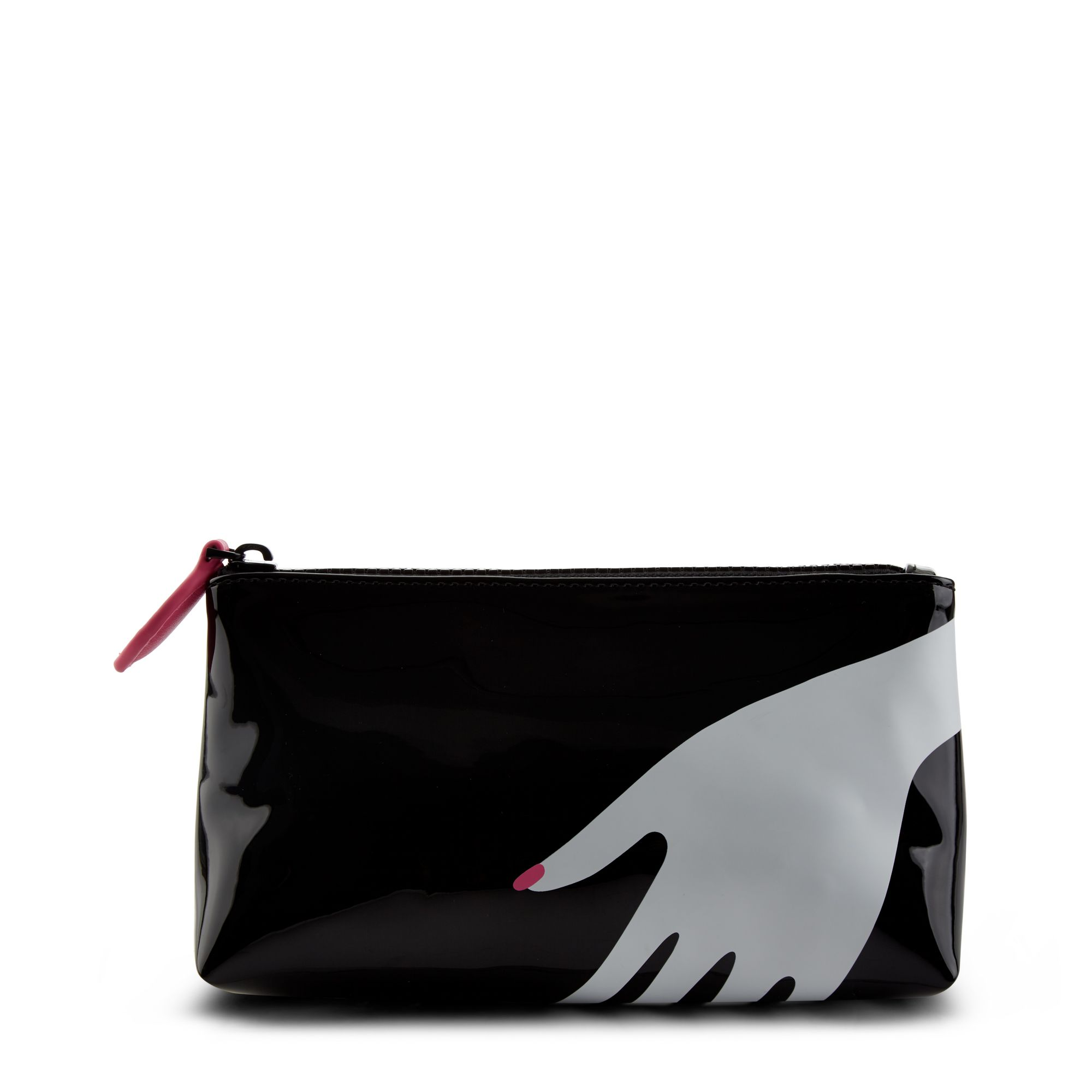 Lulu Guinness Hug print large makeup bag, Black