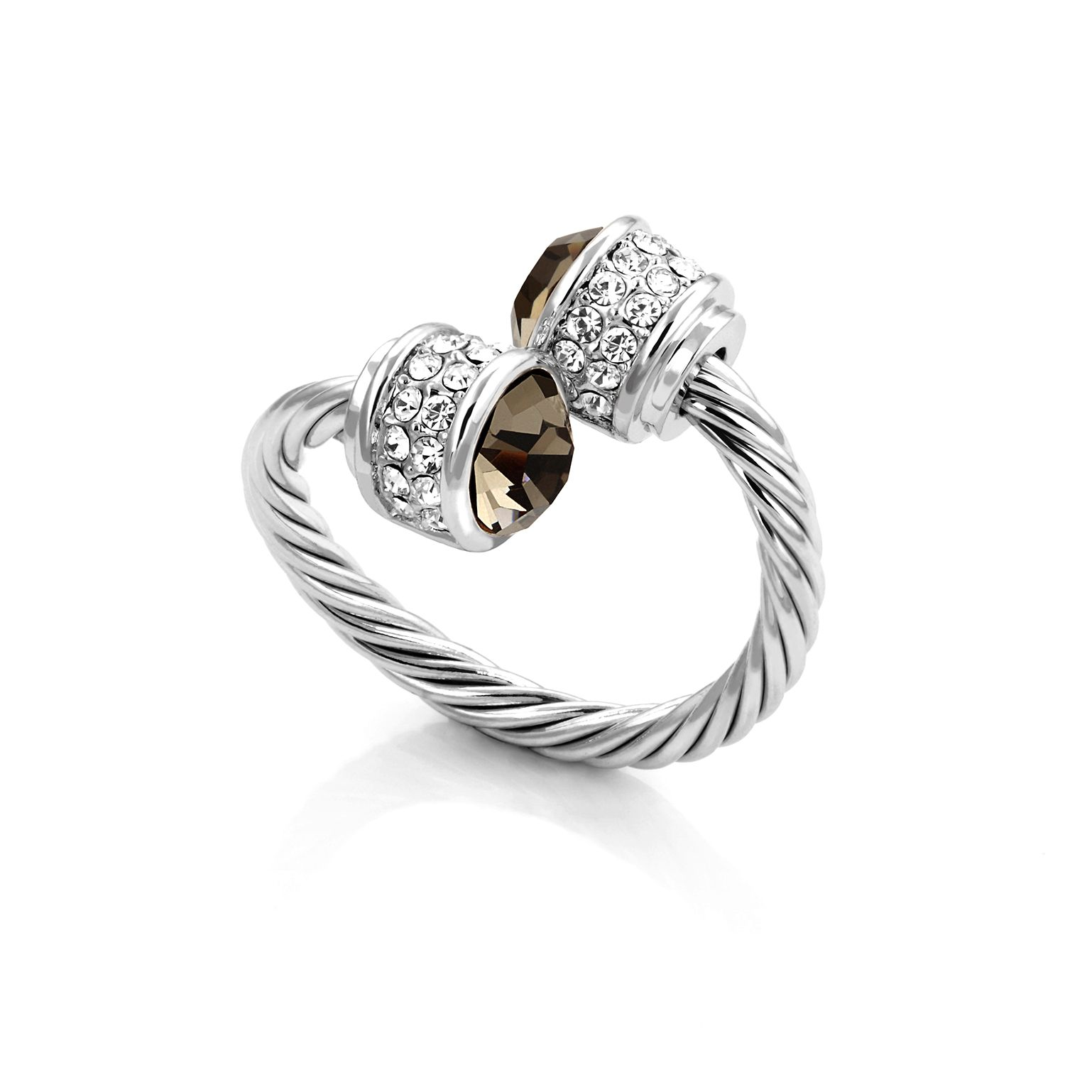 fervor montreal rhodium plated bella ring blk diamond