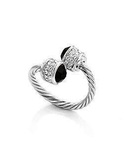 Rhodium plated bella ring jet