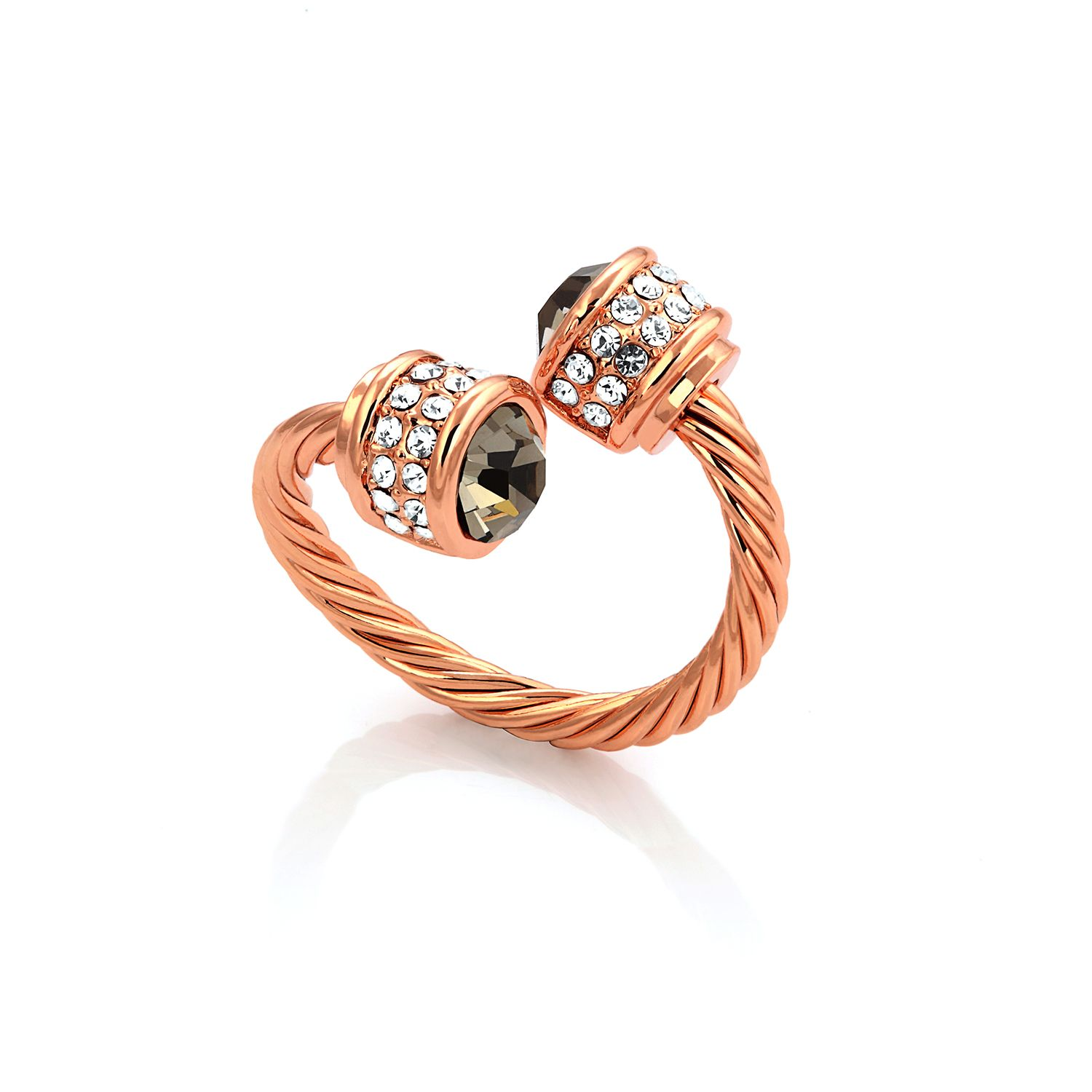 fervor montreal rose gold bella ring black diamond
