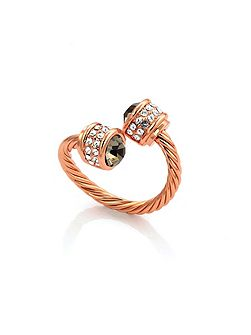 Rose gold bella ring black diamond