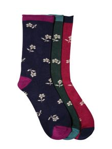 3 Pack Floral Bamboo Sock
