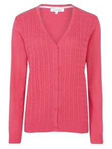 Tulchan Fine Cable V Neck Cardigan